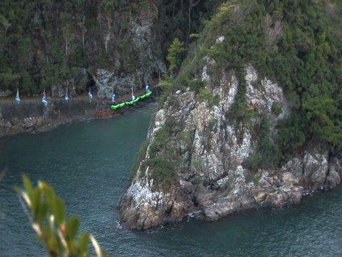 Overhead shot of the killing cove in Taiji, Japan